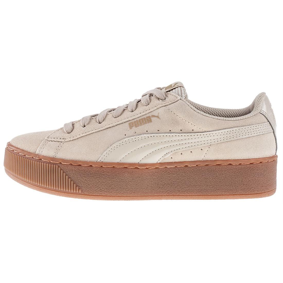PUMA Vikky Platform Leather Sneaker Scarpe Donna 363287 14 Beige